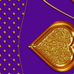 Gold Hearts & Dots Border Print