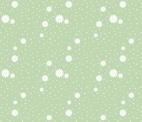 Wild Daisies: Mossy Green 6 fabric by dept_6 on Spoonflower - custom fabric