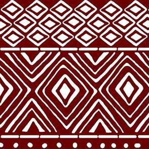 Ornate Mud Cloth - Maroon // Large