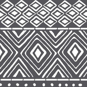 Ornate Mud Cloth - Charcoal // Large