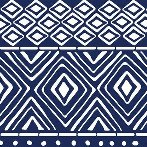 Ornate Mud Cloth - Navy // Large