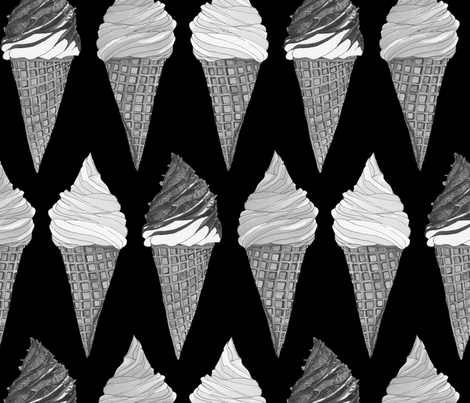 icecream monochrome fabric by kana_hata on Spoonflower - custom fabric