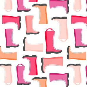 rain boots - multi pink