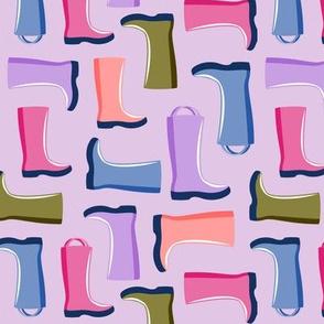 rain boots on purple