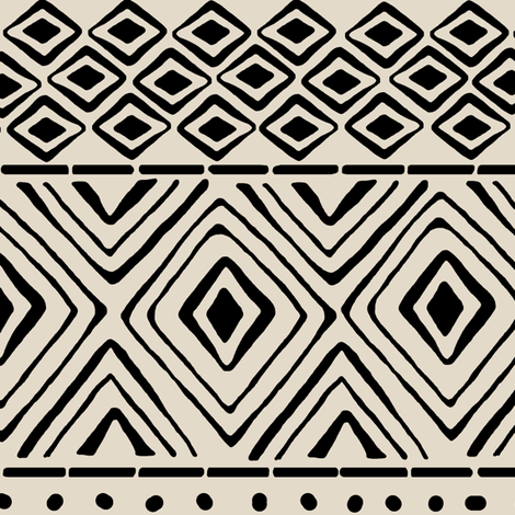 Ornate Mud Cloth on Bone // Large fabric by thinlinetextiles on Spoonflower - custom fabric