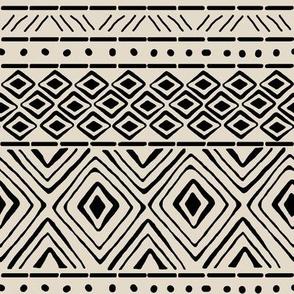 Ornate Mud Cloth on Bone // Small