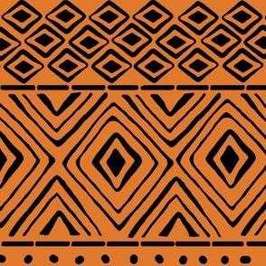 Ornate Mud Cloth - Orange // Large