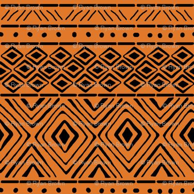 Ornate Mud Cloth - Orange // Small