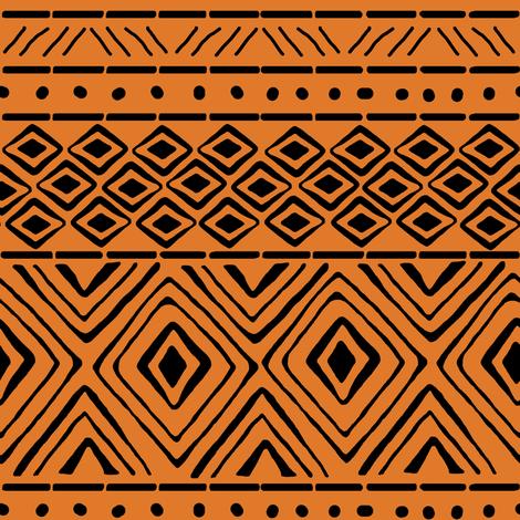 Ornate Mud Cloth - Orange // Small fabric by thinlinetextiles on Spoonflower - custom fabric