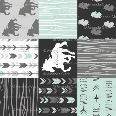 Horse Patchwork - Mint, Black And grey - ROT