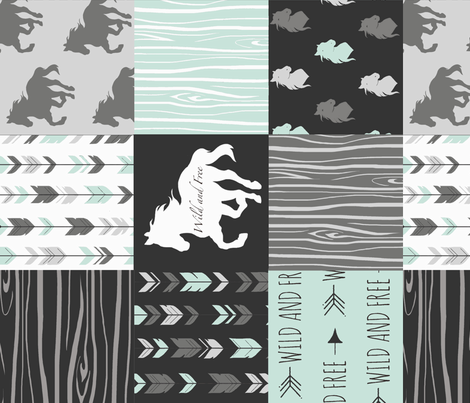Horse Patchwork - Mint, Black And grey - ROT fabric by sugarpinedesign on Spoonflower - custom fabric