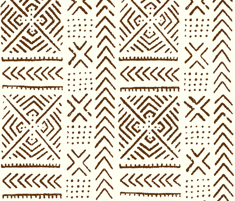 Line Mud Cloth // Mocha & Ivory // Large fabric by thinlinetextiles on Spoonflower - custom fabric