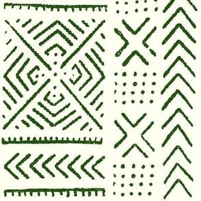 Line Mud Cloth // Emerald & Ivory // Small
