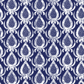 Blue and White China Abstract Motif White on Blue