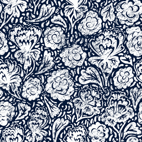 Blue and White China Floral White on Blue fabric by samantha_w on Spoonflower - custom fabric