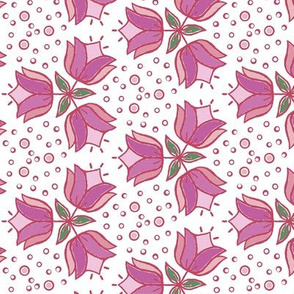Retro tulips spotty pink purple