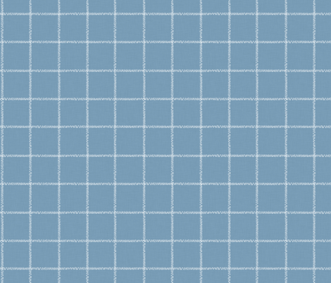 French Blue Linen Check fabric by thewellingtonboot on Spoonflower - custom fabric