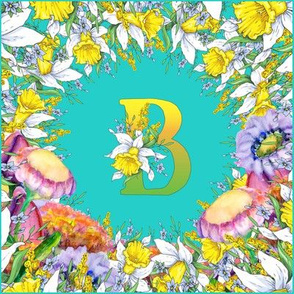 LETTER B MONOGRAM DAFFODILS WATERCOLOR FLOWERS TURQUOISE