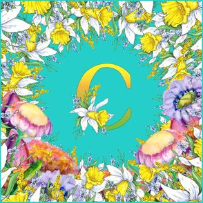 LETTER C MONOGRAM DAFFODILS WATERCOLOR FLOWERS TURQUOISE