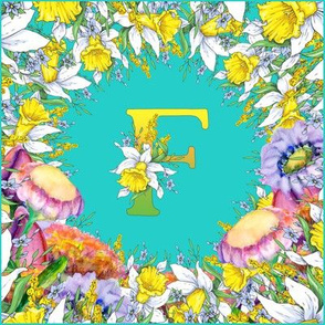 LETTER F MONOGRAM DAFFODILS WATERCOLOR FLOWERS TURQUOISE