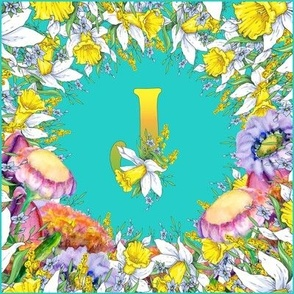 LETTER J MONOGRAM DAFFODILS WATERCOLOR FLOWERS TURQUOISE