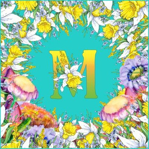 LETTER M MONOGRAM DAFFODILS WATERCOLOR FLOWERS TURQUOISE