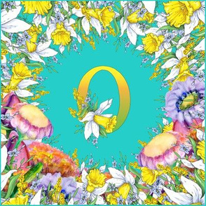 LETTER O MONOGRAM DAFFODILS WATERCOLOR FLOWERS TURQUOISE