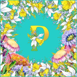LETTER P MONOGRAM DAFFODILS WATERCOLOR FLOWERS TURQUOISE