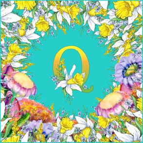 LETTER Q MONOGRAM DAFFODILS WATERCOLOR FLOWERS TURQUOISE