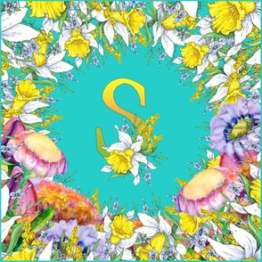 LETTER S MONOGRAM DAFFODILS WATERCOLOR FLOWERS TURQUOISE