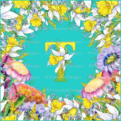 LETTER T MONOGRAM DAFFODILS WATERCOLOR FLOWERS TURQUOISE