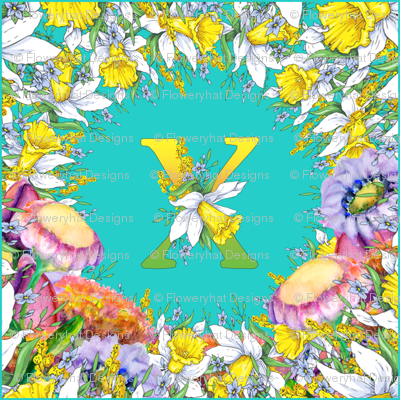 LETTER X MONOGRAM DAFFODILS WATERCOLOR FLOWERS TURQUOISE