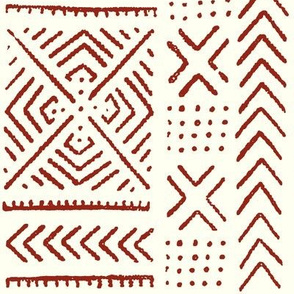 Line Mud Cloth // Maroon & Ivory // Small