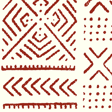 Line Mud Cloth // Maroon & Ivory // Large fabric by thinlinetextiles on Spoonflower - custom fabric