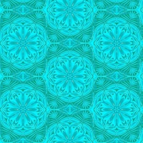 Pearly Aqua Lace on Turquoise - Medium Scale