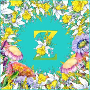LETTER Z MONOGRAM DAFFODILS WATERCOLOR FLOWERS TURQUOISE