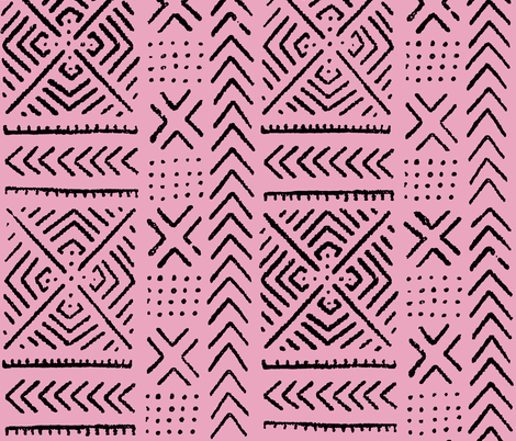 Line Mud Cloth // Pink // Large fabric by thinlinetextiles on Spoonflower - custom fabric