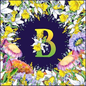 LETTER B MONOGRAM DAFFODILS WATERCOLOR FLOWERS DEEP BLUE