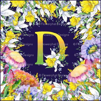 LETTER D MONOGRAM DAFFODILS WATERCOLOR FLOWERS DEEP BLUE