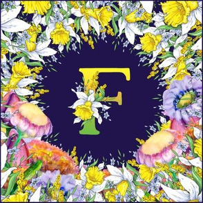 LETTER F MONOGRAM DAFFODILS WATERCOLOR FLOWERS DEEP BLUE