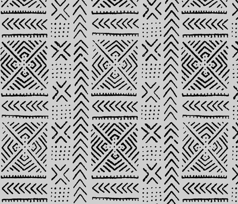 Line Mud Cloth // Light Grey // Small fabric by thinlinetextiles on Spoonflower - custom fabric