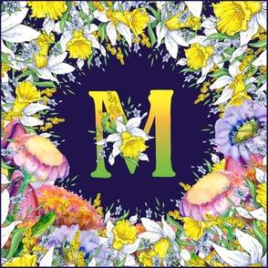 LETTER M MONOGRAM DAFFODILS WATERCOLOR FLOWERS DEEP BLUE