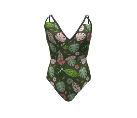 Tropical leaves and floral green and pink