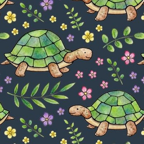 Tortoises and Flowers on Navy-grey - large scale