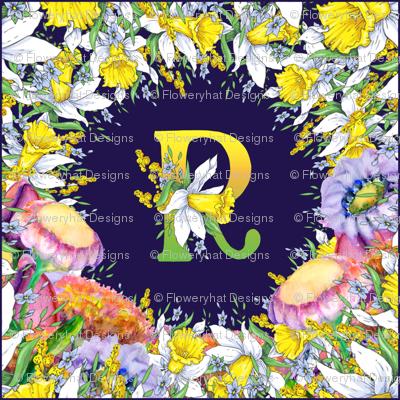 LETTER R MONOGRAM DAFFODILS WATERCOLOR FLOWERS DEEP BLUE