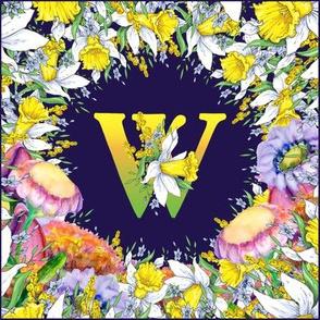 LETTER W MONOGRAM DAFFODILS WATERCOLOR FLOWERS DEEP BLUE