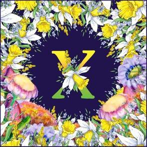 LETTER X MONOGRAM DAFFODILS WATERCOLOR FLOWERS DEEP BLUE