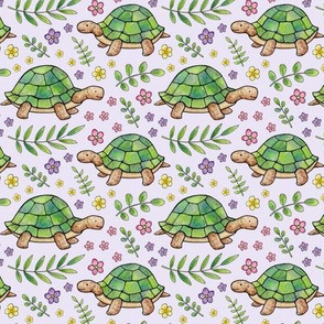 Tortoises and Flowers on Pale Lilac
