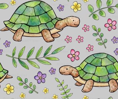 Tortoises and Flowers on Light Grey