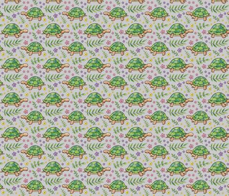 Tortoises and Flowers on Light Grey fabric by hazelfishercreations on Spoonflower - custom fabric